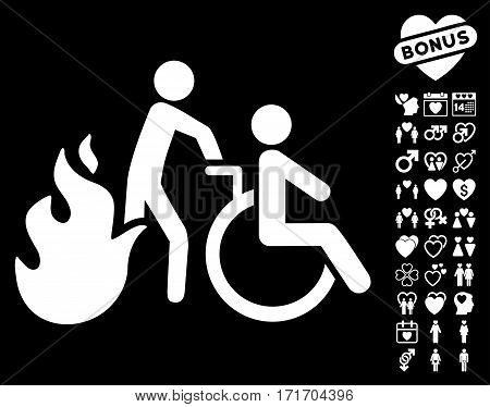 Fire Patient Evacuation pictograph with bonus amour pictures. Vector illustration style is flat iconic white symbols on black background.