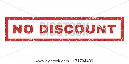 No Discount text rubber seal stamp watermark. Tag inside rectangular banner with grunge design and dust texture. Horizontal vector red ink sign on a white background.