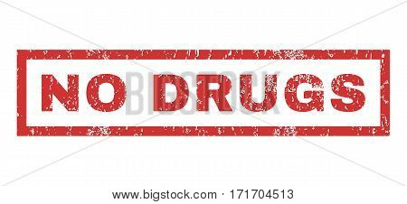 No Drugs text rubber seal stamp watermark. Tag inside rectangular banner with grunge design and unclean texture. Horizontal vector red ink sign on a white background.