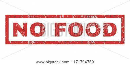 No Food text rubber seal stamp watermark. Caption inside rectangular banner with grunge design and scratched texture. Horizontal vector red ink sticker on a white background.