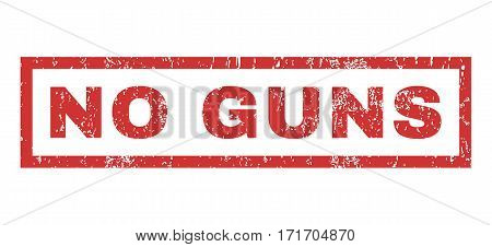 No Guns text rubber seal stamp watermark. Tag inside rectangular shape with grunge design and unclean texture. Horizontal vector red ink emblem on a white background.