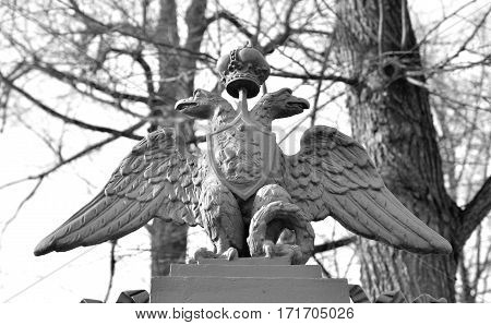 Coat of arms of the Russian Empire double-headed eagle in St.Petersburg Russia. Black and white.