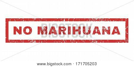 No Marihuana text rubber seal stamp watermark. Tag inside rectangular shape with grunge design and unclean texture. Horizontal vector red ink sign on a white background.
