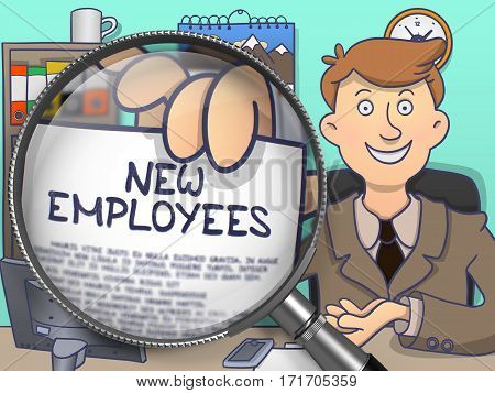 Business Man in Office Workplace Holds Out a Concept on Paper New Employees. Closeup View through Lens. Colored Doodle Style Illustration.
