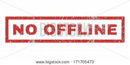 No Offline text rubber seal stamp watermark. Tag inside rectangular banner with grunge design and dust texture. Horizontal vector red ink sticker on a white background.