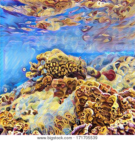 Coral reef and sea underwater life. Digital illustration with vibrant blue and yellow colors. Exotic coral diversity. Ocean world. Square image of seashore in tropics. Sea bottom landscape in Asia