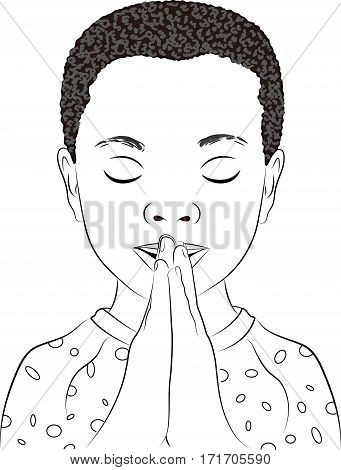 A black and white line drawing of a young boy praying.