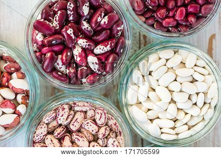 Raw Kidney Beans In Little Bowls, Uncooked