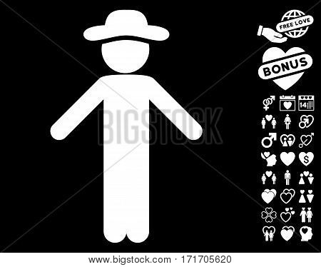 Gentleman Apology pictograph with bonus lovely images. Vector illustration style is flat iconic white symbols on black background.