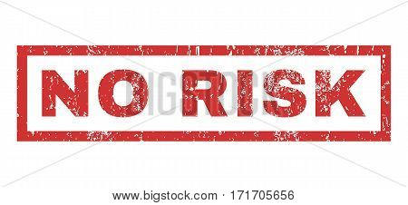 No Risk text rubber seal stamp watermark. Tag inside rectangular shape with grunge design and unclean texture. Horizontal vector red ink sign on a white background.