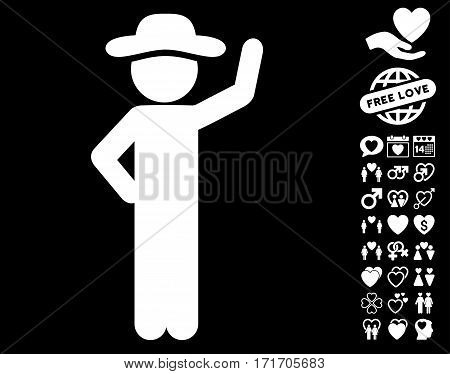 Gentleman Assurance pictograph with bonus lovely symbols. Vector illustration style is flat iconic white symbols on black background.