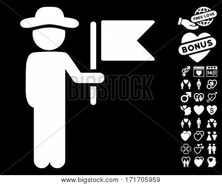 Gentleman Commander pictograph with bonus decorative icon set. Vector illustration style is flat iconic white symbols on black background.