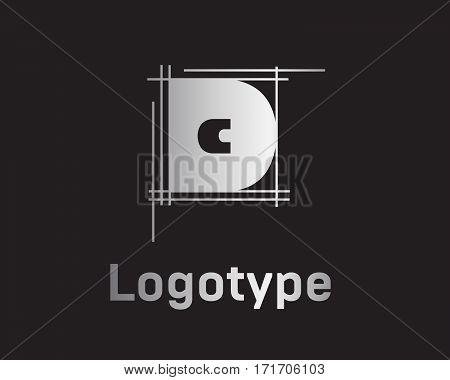 Beautiful vector graphic silver alphabet letter D symbol