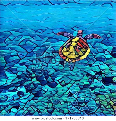 Digital illustration of marine turtle in the sea. Swimming animal mosaic style picture. Seashore life: coral reef stones at sea bottom sea plants. Sea turtle in the water paint brush image