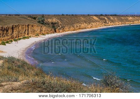 Beautiful sandy beach. Clear blue sea yellow sand and clear sky. Great place for privacy and relaxation.