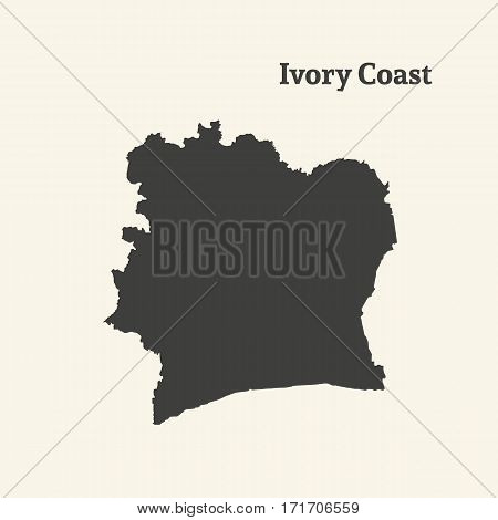 Outline map of Ivory Coast. Isolated vector illustration.
