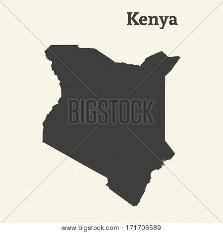 Outline map of Kenya. Isolated vector illustration.