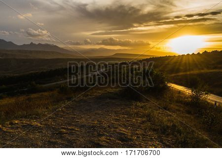 A beautiful romantic landscape - the mountains at sunset.