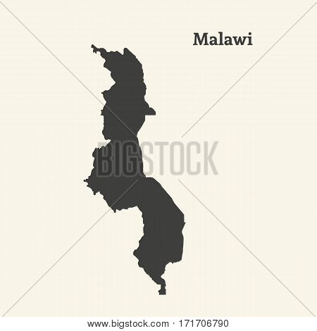 Outline map of Malawi. Isolated vector illustration.