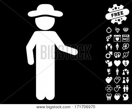 Gentleman Invitation icon with bonus love pictograph collection. Vector illustration style is flat iconic white symbols on black background.