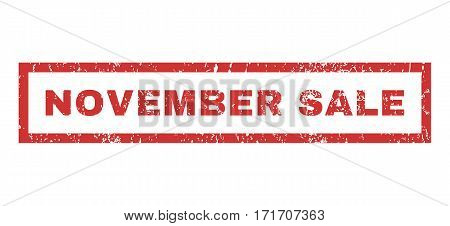 November Sale text rubber seal stamp watermark. Tag inside rectangular banner with grunge design and scratched texture. Horizontal vector red ink emblem on a white background.