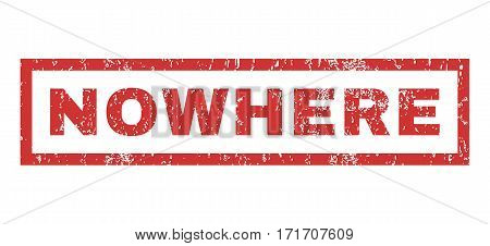 Nowhere text rubber seal stamp watermark. Caption inside rectangular banner with grunge design and dirty texture. Horizontal vector red ink sticker on a white background.