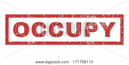 Occupy text rubber seal stamp watermark. Caption inside rectangular shape with grunge design and dust texture. Horizontal vector red ink sign on a white background.