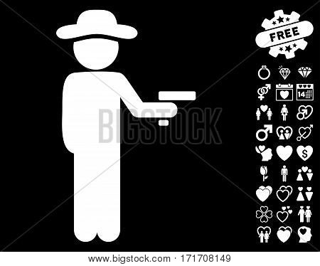 Gentleman Robber icon with bonus romantic clip art. Vector illustration style is flat iconic white symbols on black background.