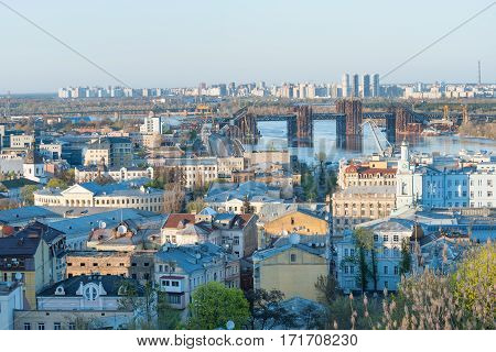 Panoramic view of historic district Podol by the Dnieper river, Kiev, Ukraine