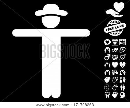 Gentleman Scarescrow icon with bonus marriage symbols. Vector illustration style is flat iconic white symbols on black background.