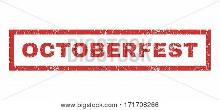 Octoberfest text rubber seal stamp watermark. Caption inside rectangular shape with grunge design and dust texture. Horizontal vector red ink sign on a white background.