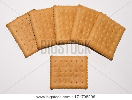 Cookies isolated on a white background. Biscuit Texture Closeup Details Isolated On White