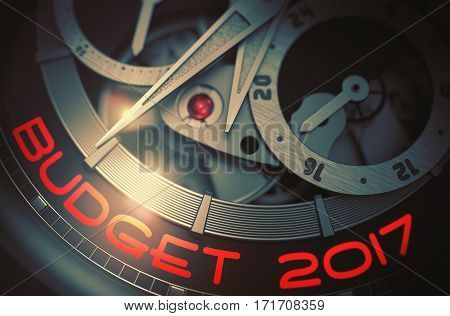 Budget 2017 - Black and White Close View of Watch Mechanism. Budget 2017 on Face of Automatic Wristwatch, Chronograph Closeup. Work Concept with Lens Flare. 3D Rendering.