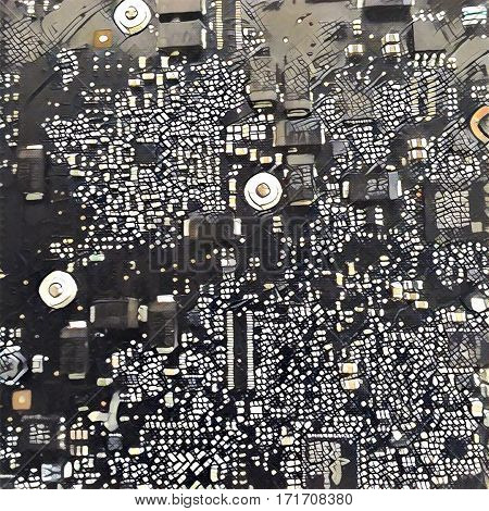 Electronic chip digital illustration. Technological background. Futuristic design for print poster or banner template. Motherboard closeup monochrome image. Computer circuit. Artificial intelligence