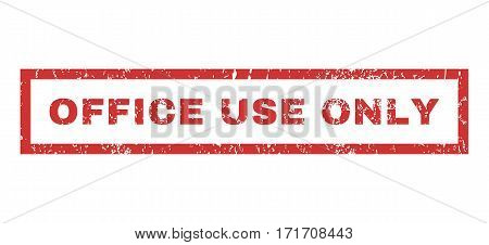 Office Use Only text rubber seal stamp watermark. Tag inside rectangular shape with grunge design and scratched texture. Horizontal vector red ink emblem on a white background.