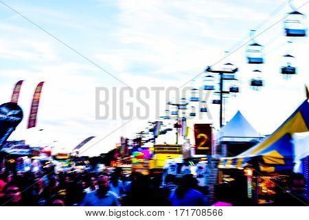 Ski lift during the fair at dusk