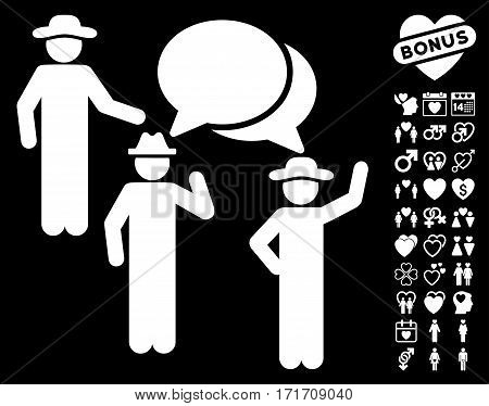 Gentlemen Discussion pictograph with bonus passion design elements. Vector illustration style is flat iconic white symbols on black background.