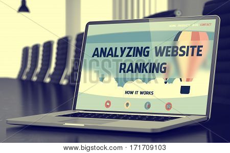 Analyzing Website Ranking Concept. Closeup of Landing Page on Laptop Display in Modern Conference Hall. Toned Image with Selective Focus. 3D Rendering.