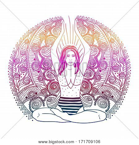 Beautiful Girl with long curly hair sitting in Lotus pose over gold ornate pattern on background. Vector illustration. Spa consent yoga studio or natural medicine clinic.