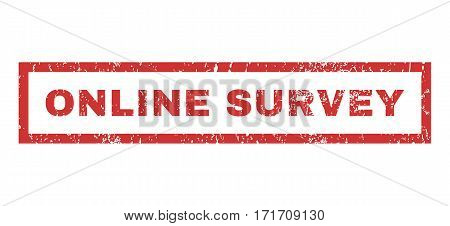 Online Survey text rubber seal stamp watermark. Tag inside rectangular banner with grunge design and dust texture. Horizontal vector red ink emblem on a white background.
