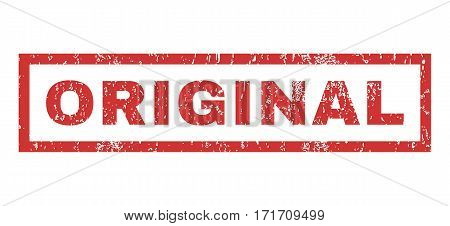 Original text rubber seal stamp watermark. Tag inside rectangular banner with grunge design and unclean texture. Horizontal vector red ink sign on a white background.