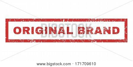Original Brand text rubber seal stamp watermark. Caption inside rectangular shape with grunge design and unclean texture. Horizontal vector red ink emblem on a white background.