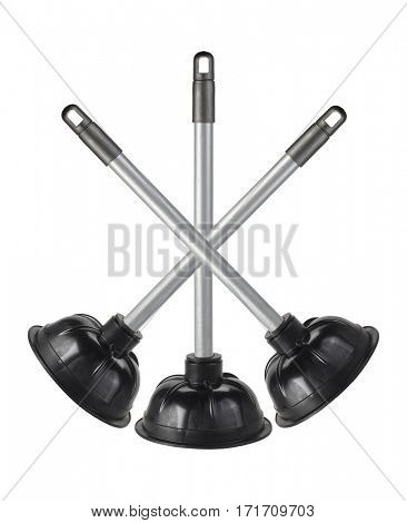 Three Rubber Plungers Arranged on White Background