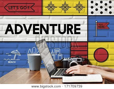 Journey Discovery Holiday Adventure Graphic Icon Word