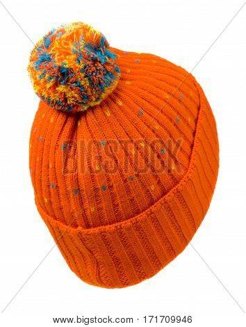 Hat Isolated On White Background .knitted Hat .orange Hat