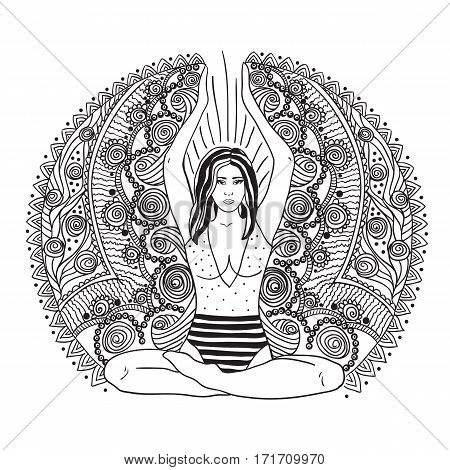 Young pretty girl doing yoga. Vintage decorative vector illustration. Hand drawn background. Mehenidi ornate decorative style. Yoga studio concept Indian Hindu motifs.
