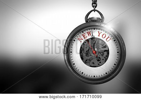 New You on Vintage Pocket Watch Face with Close View of Watch Mechanism. Business Concept. Business Concept: Vintage Pocket Clock with New You - Red Text on it Face. 3D Rendering.