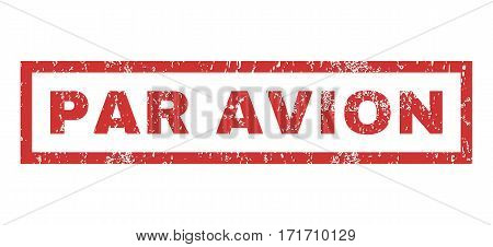Par Avion text rubber seal stamp watermark. Tag inside rectangular shape with grunge design and scratched texture. Horizontal vector red ink emblem on a white background.