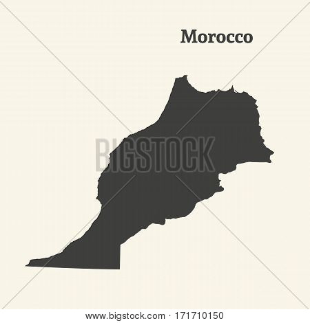 Outline map of Morocco. Isolated vector illustration.