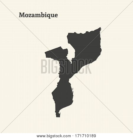 Outline map of Mozambique. Isolated vector illustration.